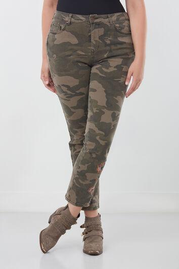 Slim-Leg-Hose mit Stickerei
