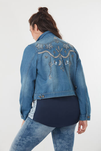 Jeansjacke mit Pailletten-Detail