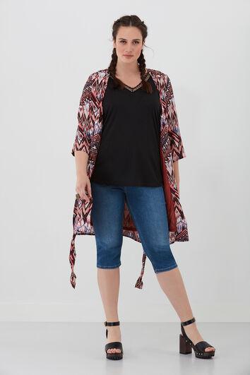 Gemusterte Kimono-Jacke