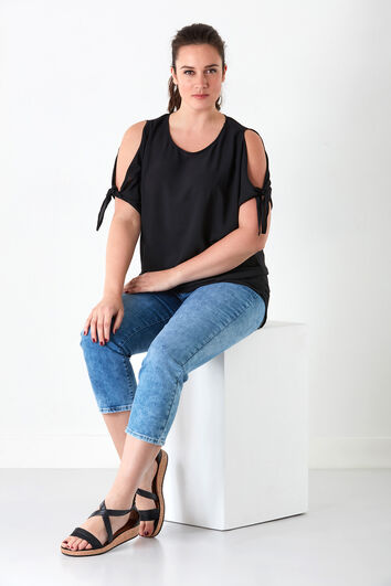 Capri-Jeans mit geradem Hosenbein