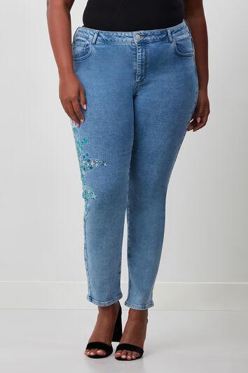 Slim-Leg-Jeans mit Stickerei