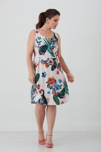 Kleid mit tropischem Muster