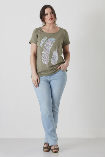 Basic-T-Shirt mit Feder-Print