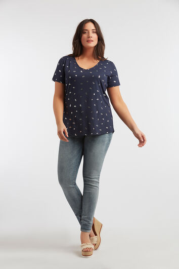 T-Shirt mit silbernem Folien-Print