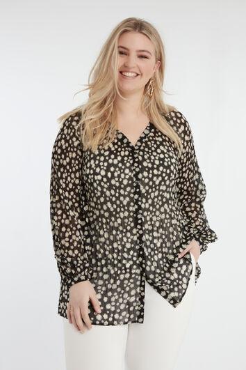 Plissierte Bluse mit floralem Print
