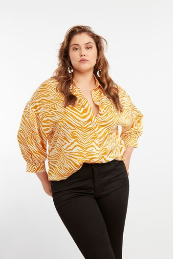 Satin-Bluse mit Animal-Motiv