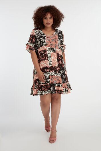 Kleid mit Rüschen und Patchwork-Print
