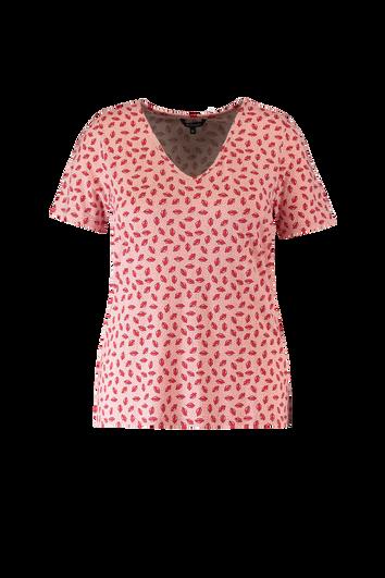 T-Shirt mit V-Ausschnitt und Lippen-Print