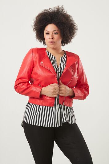 Jacke aus Kunstleder mit rundem Halsausschnitt