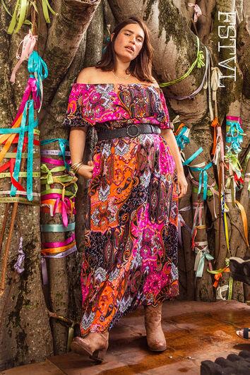 Farbenfrohes Maxi-kleid