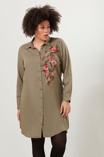 Shirt-Kleid mit Stickerei