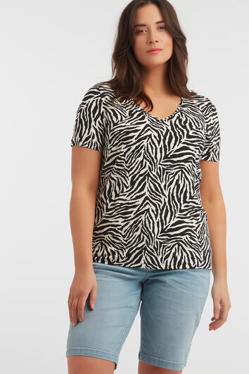 T-Shirt mit V-Ausschnitt und Zebra-Print