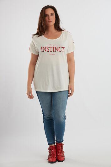 T-Shirt mit Print und sportiver Borte