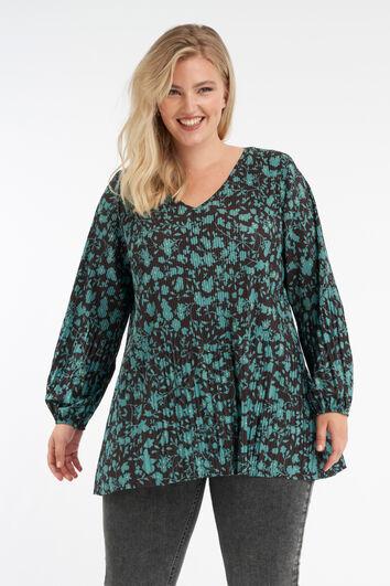 Plissee-Bluse mit floralem Print