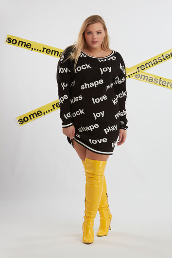 Strick-Sweatkleid mit Text-Print