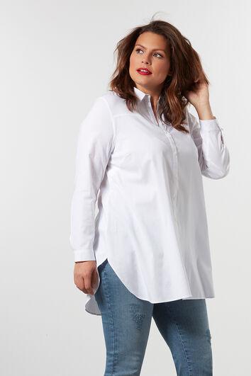 Lange einfarbige Bluse.