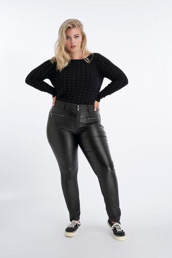 Kunstleder-Hose mit Reißverschluss