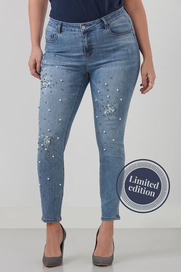 Jeans mit Kunstperlen