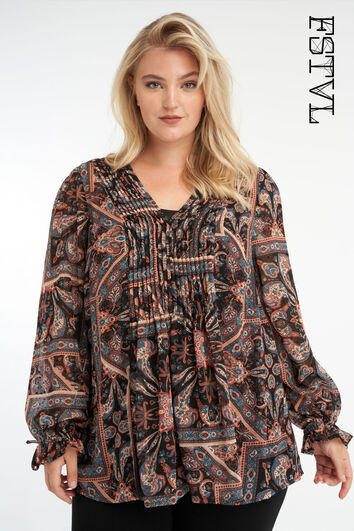 Bluse mit Paisley-Print und V-Ausschnitt