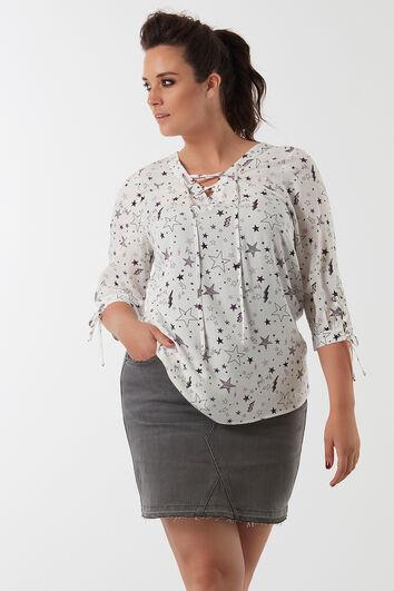 Bluse mit Allover-Print und Schnür-Details