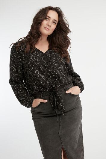Bluse mit Punktmuster und Knoten-Detail
