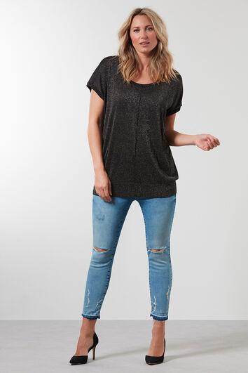 Lurex-Pullover mit neckischem Detail am Rücken