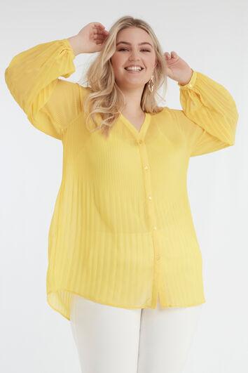Gelbe Bluse mit Plissees
