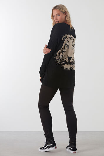 Offener Cardigan mit Tiger-Print