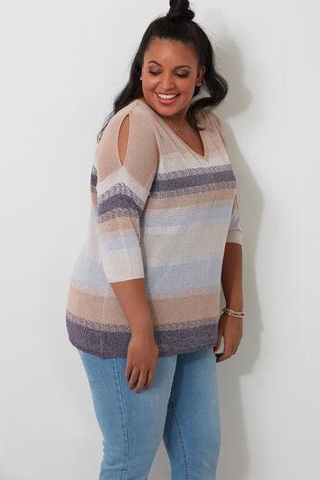 Pullover mit Streifen-Muster und offenen Schultern