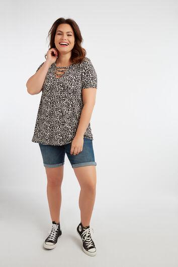 T-Shirt mit V-Schlitz und gekreuzten Riemen