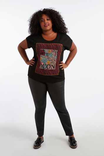 T-Shirt mit Wachs-Print