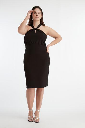 Kleid mit überkreuzten Bändern