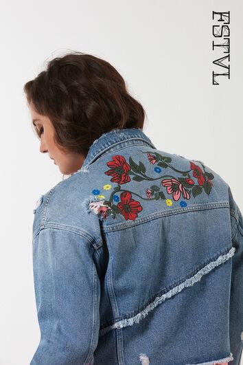 Jeans-Jacke mit Print