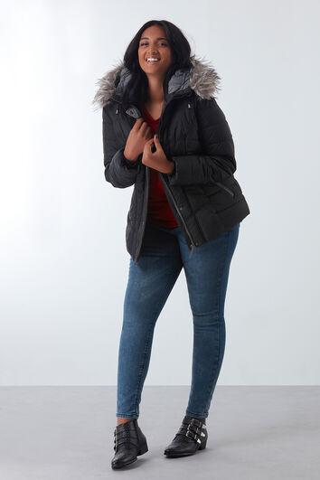 Gepolsterter Mantel mit Kunstpelz-Kragen