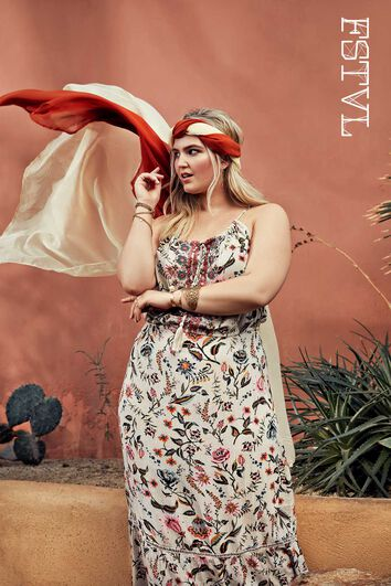 Langes Bohemien-Kleid mit Print