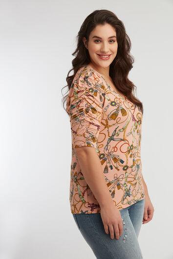 T-Shirt mit Ärmeln im Knitterlook