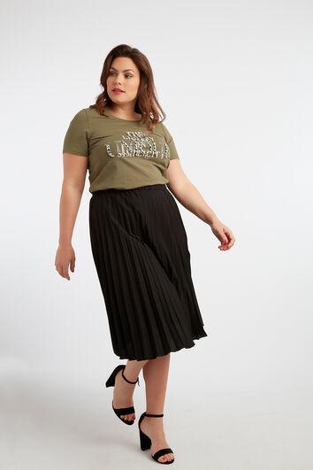 T-Shirt mit Text-Print und Strasssteinen