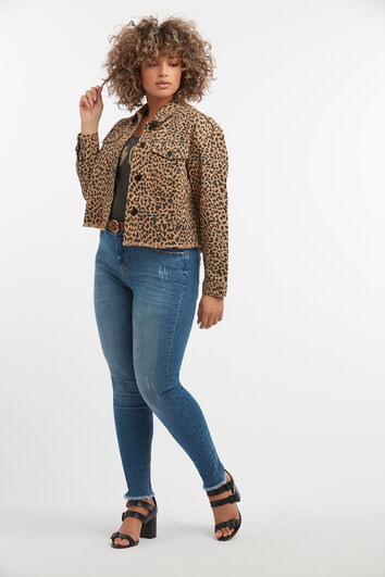 Kurze Jacke mit Leoparden-Print
