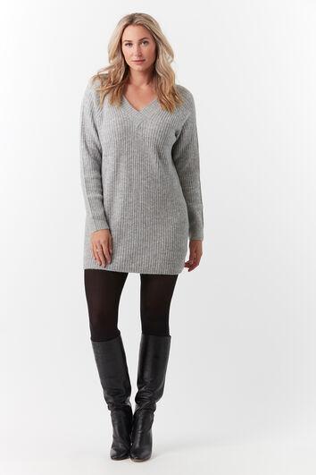 Langer Ripp-Pullover mit Lurex