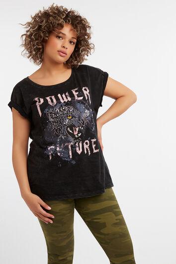 Print-T-Shirt mit Pailletten-Ärmeln