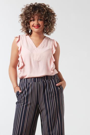 Einfarbige Bluse mit Rüschen