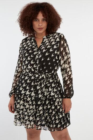 Kleid mit Hahnenritt-Print