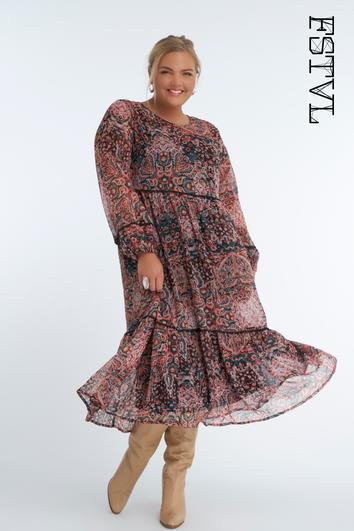 Langes weites Kleid mit Print