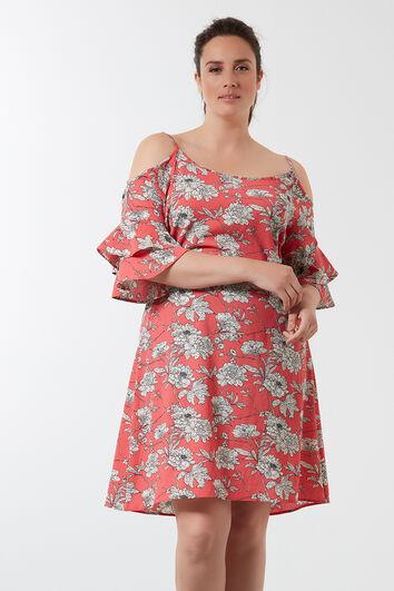 Kleid mit offenen Schultern und Allover-Print