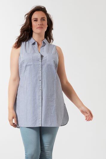 Lange ärmellose Bluse mit Streifen