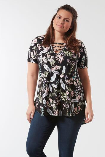 Shirt mit Allover-Print und gekreuzten Bändern