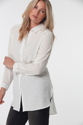 Lange Bluse mit Punktmuster