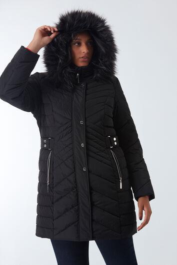 Gepolsterter Winter-Mantel mit Kunstpelz-Kragen
