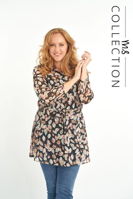 Tunika-Bluse mit Blatt-Print