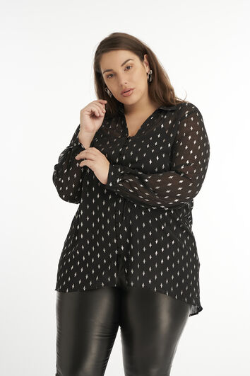 Bluse mit glänzendem Print